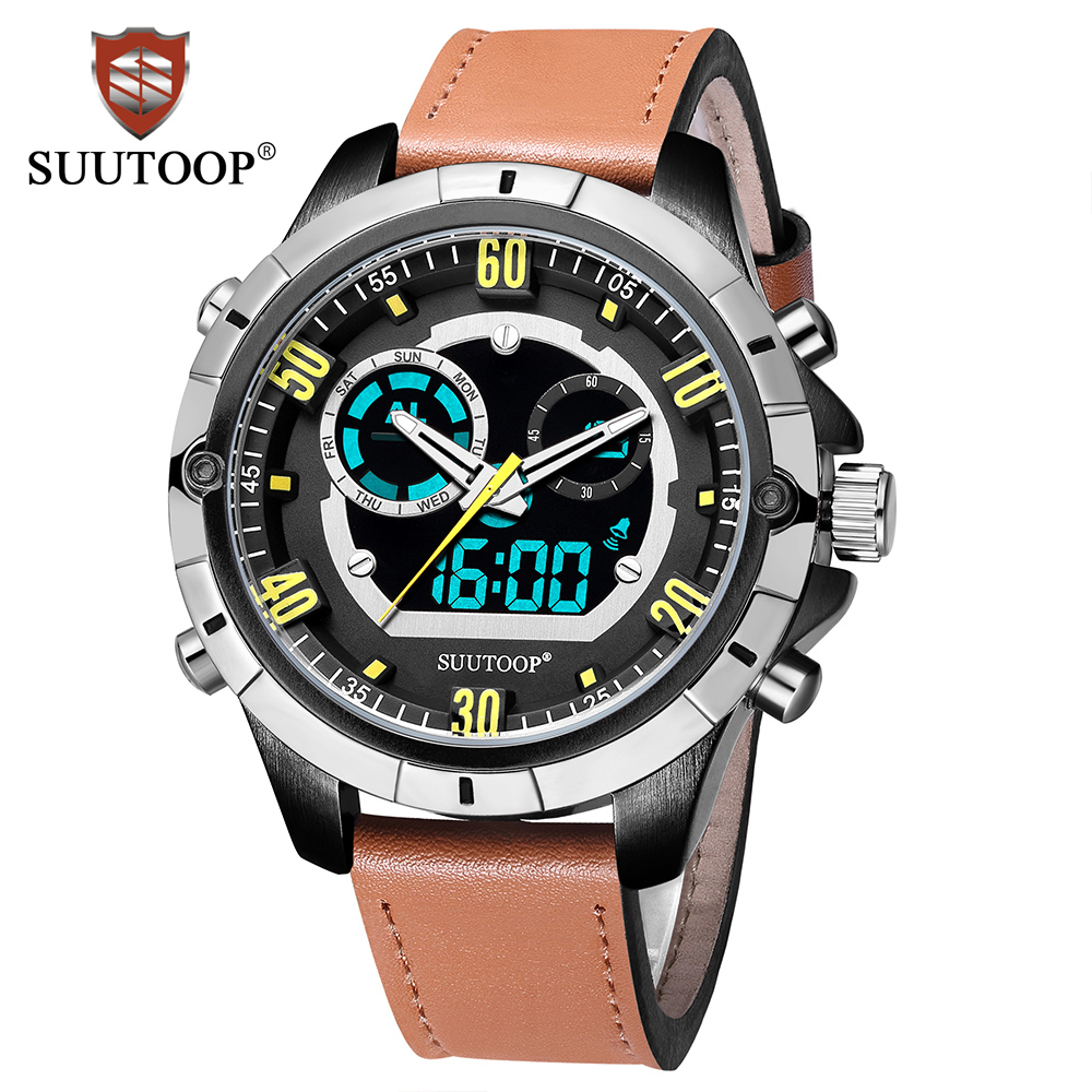 SUUTOOP New Men's Fashion Sport Digital Watches Analog Quartz Clock Man Waterproof Business Casual Gift Watch Relogio Masculino splendid brand new boys girls students time clock electronic digital lcd wrist sport watch
