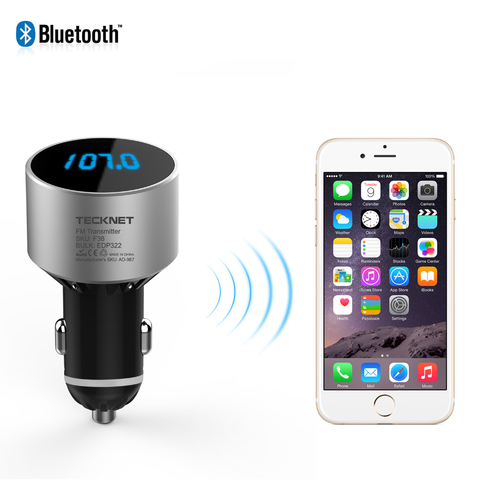 Tecknet Bluetooth Car Charger In Universal Wireless Fm 2 Transistor Mini Transmitter Radio Adapter 5v 21a Usb For Iphone Samsung