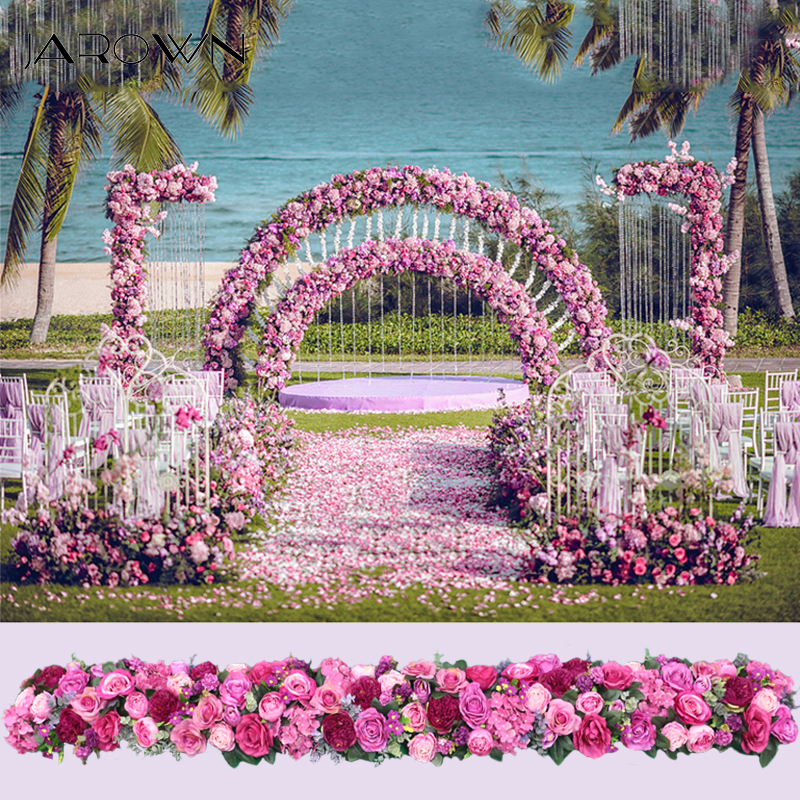 JAROWN Artificial 2M Rose Flower Row Wedding Arched Door Decor Flores Silk Peony Road Cited Flowers