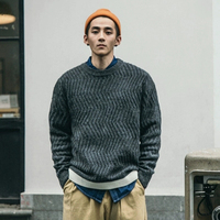 Vintage Plain Male Sweater Patterns Patchwork Cropped Streetwear Men Sweaters Casual o Neck Chandail Winter Clothes Male 40MY030