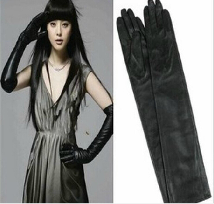 4b34ed2df8789 3 pecs New Black Red Long Leather Gloves 40 50cm Women s Gloves Winter  Fashion Ladies Dance Leather Gloves For women mittens