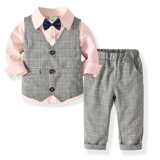 fdbd5f235c4 Cute Kids Boys Gentleman Suits Candy Color Bow Shirts Vests and Pants 3pcs  Sets Western Fashion Spring Autumn Vintage Clothes