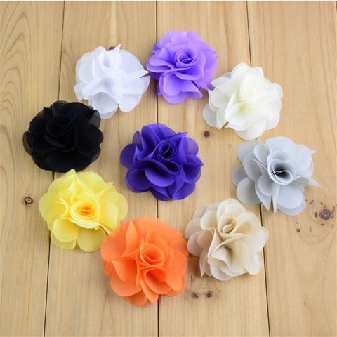 120pcs/lot 2.56Inch Layered Chiffon Fabric Flower Hair Flowers DIY Bridal Weddings Girls Accessories 25 Color U Choose MH88 Karachi