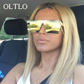 OLTLO Cool Metal Mirror sunglasses men women Flat Top Mirror Cool Super Star Hip Hop Sun Glasses Luxury Brand Designer oculos