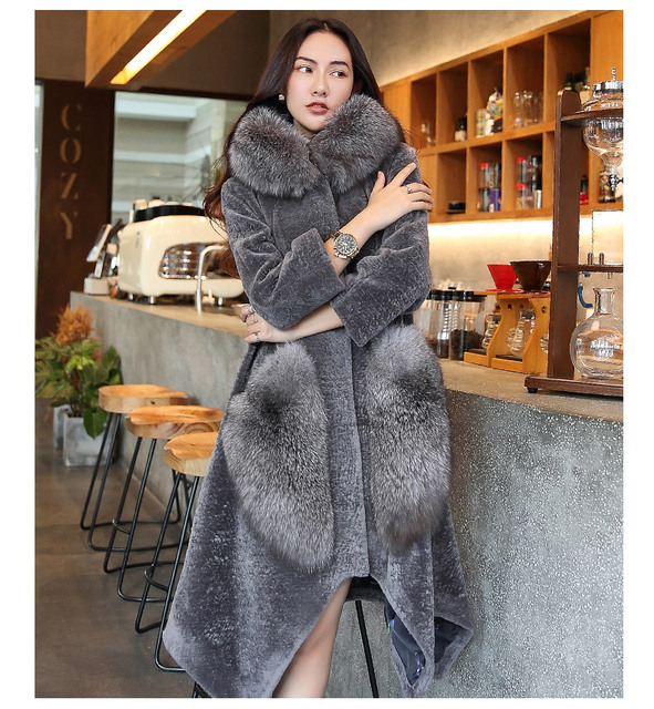 0744fa9ade5 Luxurious women genuine sheepskin shearling coats ladies natural fox fur  hood jackets grey navy blue plus big oversized 2xl xxl