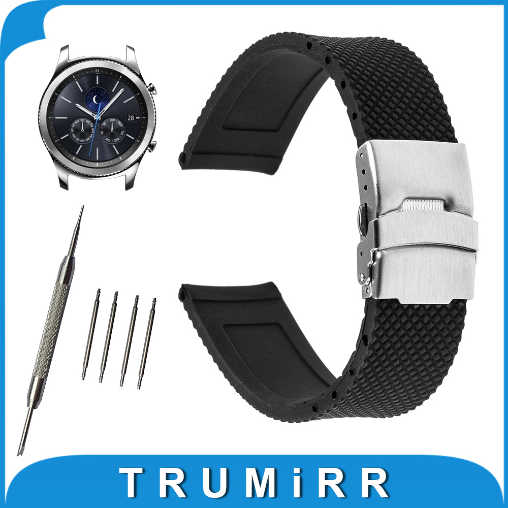 22mm Silicone Rubber Watch Band for Samsung Gear S3 Classic / Frontier Stainless Steel Buckle Strap Wrist Belt Bracelet Black stylish 8 led blue light digit stainless steel bracelet wrist watch black 1 cr2016