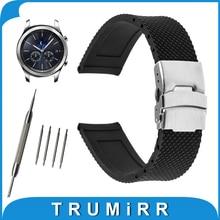 22mm Montre En Caoutchouc de Silicone Bande pour Samsung Gear S3 Classique/Frontière Acier Inoxydable Boucle Courroie de Poignet Bracelet Noir