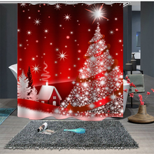 цена на New Shower Curtains Christmas Tree Santa Claus Shower Curtain Bath Curtain Waterproof Bathroom Curtain Christmas Home Decor