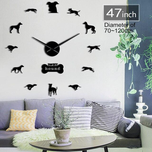 גרייהאונד אימוץ ויפט קיר אמנות DIY ענק קיר שעון גרייהאונד בית תפאורה גזע כלב בלעדי קיר שעון כלב אוהבי מתנה