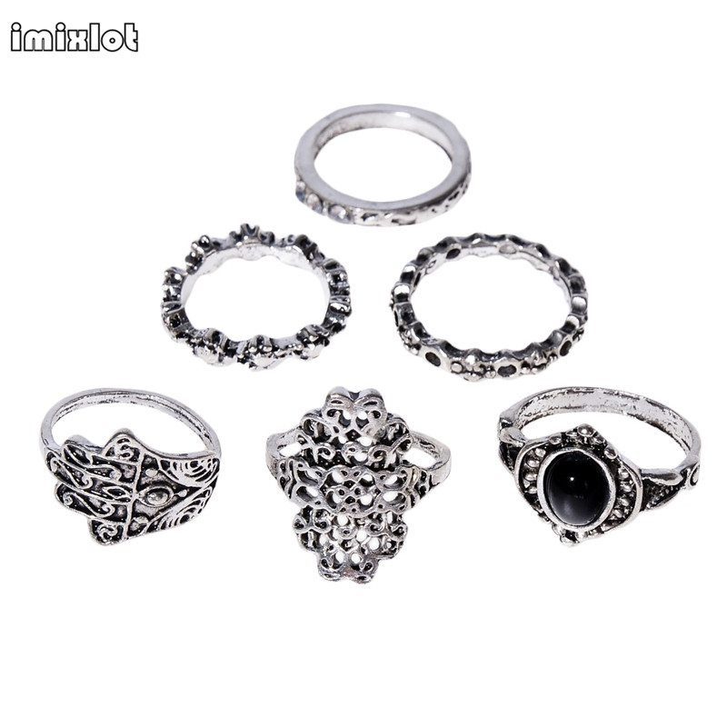 7 pieces  popular retro style metal hollow carved palm black finger ring gift male ladies ring