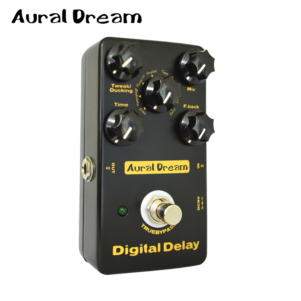 Aural Dream Digtal Delay Electric Guitar Effects Pedal True Bypass with 8 Algorithms Five knobs of Digital Delay and True Bypass