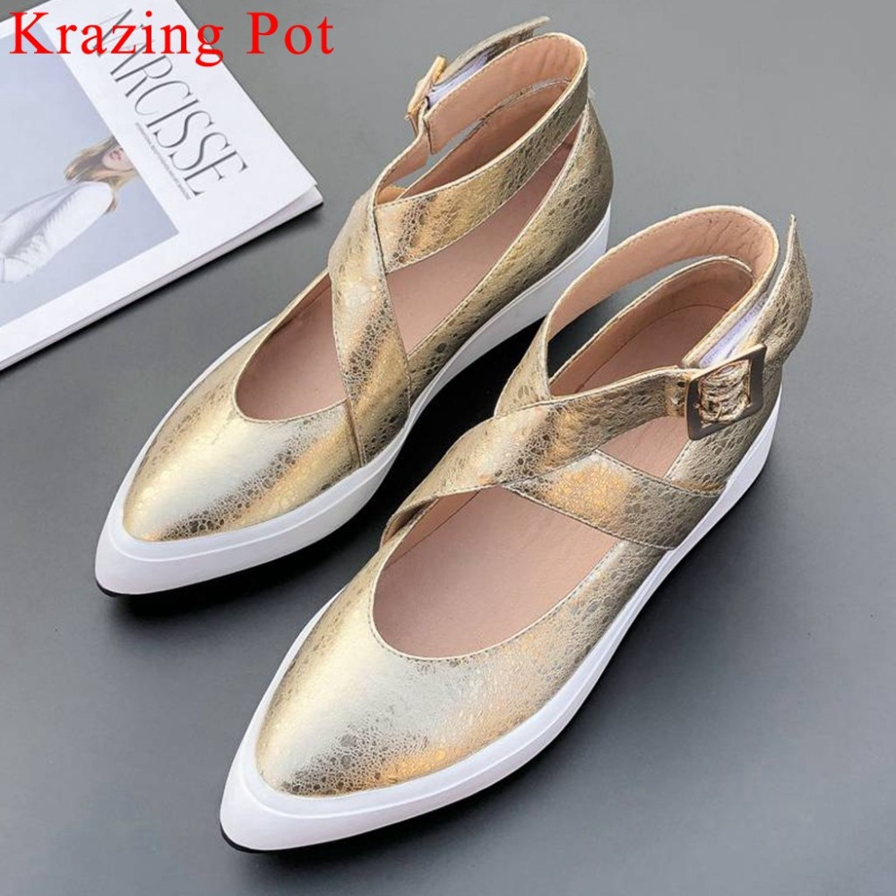 Krazing Pot Buckle Strap Luxury Cow Leather Flat Platform Pointed Toe Med Bottom Loafers Increased Shoes Vulcanized Shoes L03