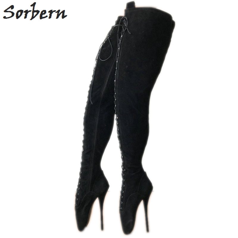 Sorbern 70Cm Crotch Thigh High Boots Unisex Plus Size 46 Ballet Stiletto High Heels Custom Order