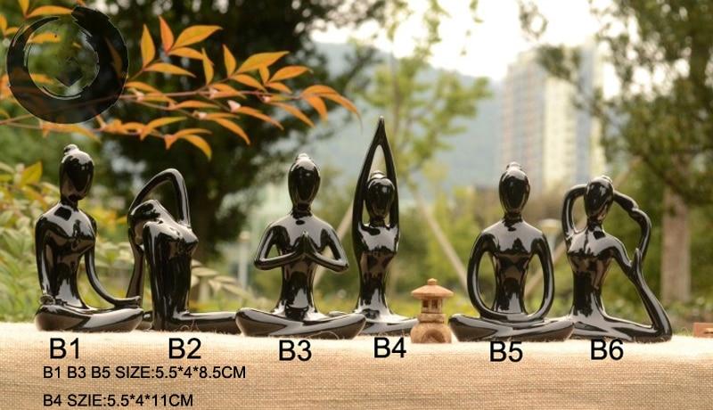 Yoga Figurine Zen Garden Statues Women Meditate Ceramic Craft ...
