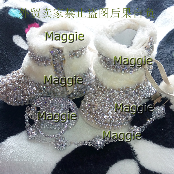 free shipping rhinestone Pearl Baby Girl kids shoes handmade Bling Bling First Walkers bead soft Child gift winter snow boots