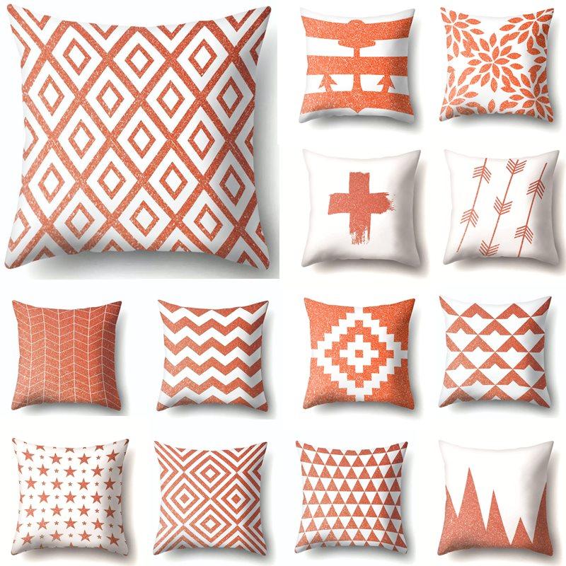 US $1.19 40% OFF|Coral Orange Decorative Throw Pillows Cushion Cover  Geometric Decoration Home cojines decorativos para sofa 45*45cm 40601-in  Cushion ...