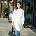 Veri Gude Women Long Shirt Dress with Belt Cotton Shirtdress Loose Fit Nice Embroidery