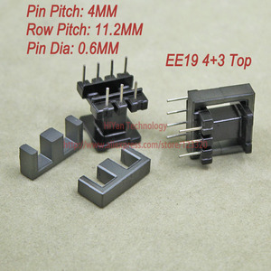 20sets/lot EE19 PC40 Ferrite Magnetic Core and 4 Pins + 3 Pins Top Entry Plastic Bobbin Customize Voltage Transformer