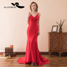Alagirls 2019 New Arrival Elegant Mermaid Evening Dress V Neck Backless Gown Floor length Party dress Sexy Prom Dresses