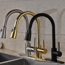 High Quality Best Price Single Handle Kitchen Faucet Pull Out Water Taps W 8 Hole Cover