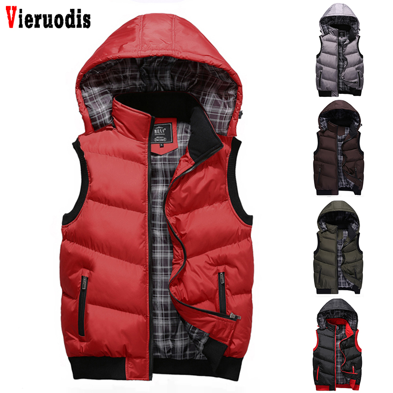 Warm Sleeveless Jackets New Winter Hooded Vest Men Hat Detachable Mens High Quality Casual Male Vest Coat Homme Plus Size M-5XL