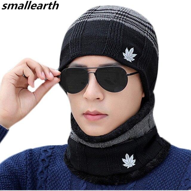 2018 Mode Hommes Tricoté Chapeau Écharpe Cap Set Chapeaux D hiver Cache-Cou  Pour afca7f3b794