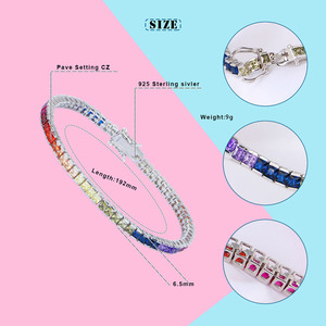 Image 2 - High Quality S925 Sterling Silver Bracelet Square Crystal CZ Gay Pride Rainbow Magnetic LGBT Charms Bracelet Wholesale