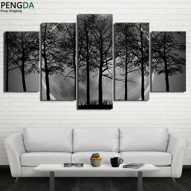 Mordern Canvas Wall Art Pictures Prints Black White Painting 5 Piece Home Decor  Grey Psychedelic Forest