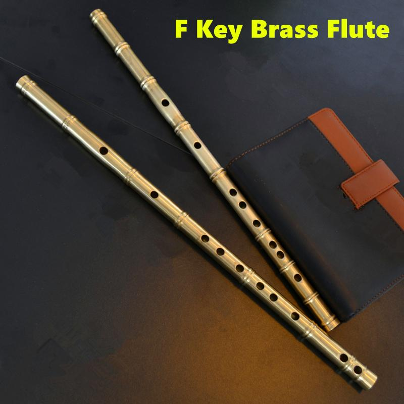 Brass Metal Flute Dizi F Key Metal Flauta Thicken Brass Chinese Flute Professional Musical Instrument Flauta Self-defense Weapon chinese traditional high quality detachable single pipe cross bblown flute bawu ebony ba wu key of g f c bb