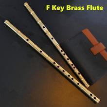 Brass Metal Flute Dizi F Key Metal Flauta Thicken Brass Chinese Flute Professional Musical Instrument Flauta Self-defense Weapon