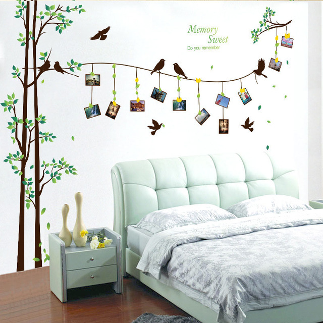US $9.74 25% OFF|[Fundecor] 205*290cm/81*114in large photo tree Wall  Stickers home decor living room bedroom 3d wall art decals diy family  murals-in ...