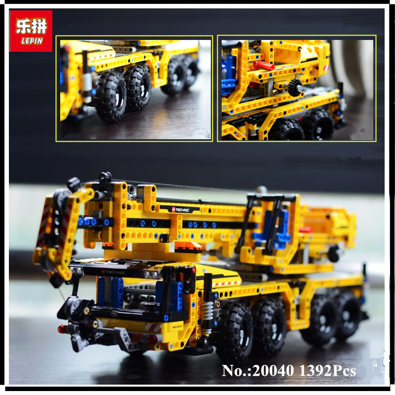 IN STOCK Lepin 20040 1392Pcs Technic Mechanical Series The Moving Crane Set Educational Building Blocks Bricks Toys Model Gift in stock lepin 02012 774pcs city series deepwater exploration vessel children educational building blocks bricks toys model gift