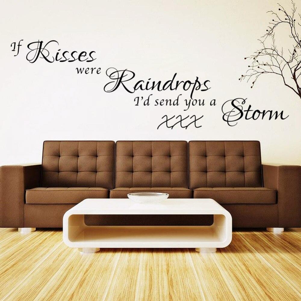 Renkli oturma gruplari 5 quotes - New Warm Quote Kiss Home Decal Wall Sticker Removable Wedding Decoration Living Room Decor