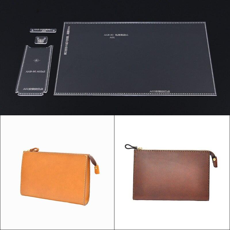 1set Leather Craft Clear Acrylic Clutch Bag Handbag Pattern Stencil Template Tool Set DIY Kit