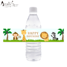 Jungle Safari Water Bottle Label Wrappers Kids Birthday Party Supplies Decoration Animal Baby Shower