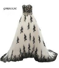 2019 Real Pictures White  Black Lace Appliques Wedding dresses Plus Size Bridal Gown Court Train