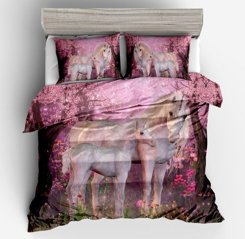 Vente chaude 3d ensemble de literie violet Licorne literie impression double reine roi super roi draps housse de couette taie d'oreiller draps