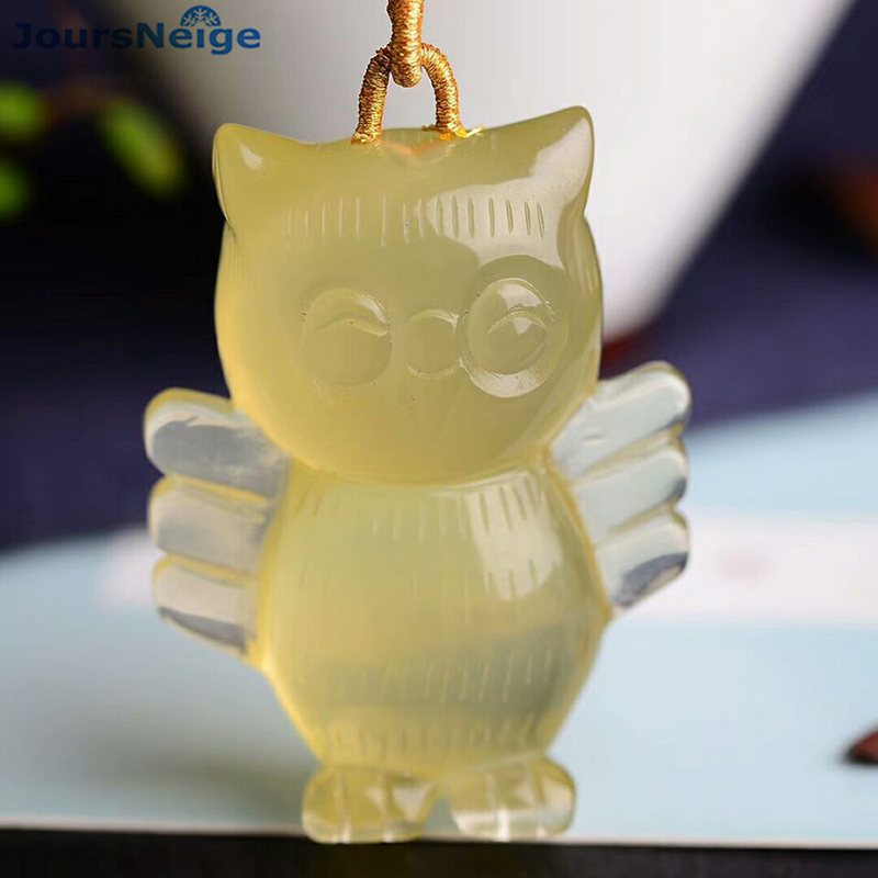 Wholesale Yellow Natural Crystal Pendants Hand Carved Meng Owl Pendant Sweater Chain Necklace Lucky for Women Men Gift Jewelry men and women lovers style pure hand carved hollow out god beast pendant necklace sweater chain
