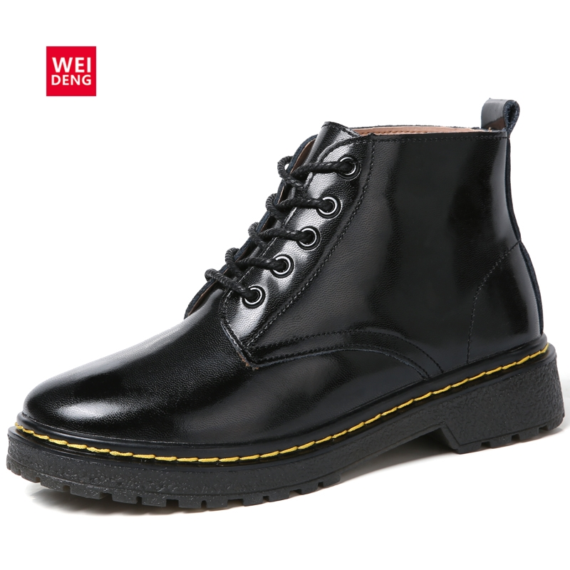 WeiDeng Noble Genuine Leather Fur Warm Martin Boots Snow Winter Wild Motorcycle Boots Women Lace Up Flats Ankle Slip On Shoes noble people куртка на пуху без меха для мальчика 18607 284down no fur зелёный noble people