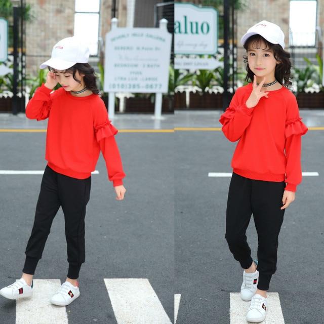 872e4a9712749 Grandes filles ensembles de vêtements pour enfants tenues rouges automne  adolescentes hauts et pantalons costumes enfants