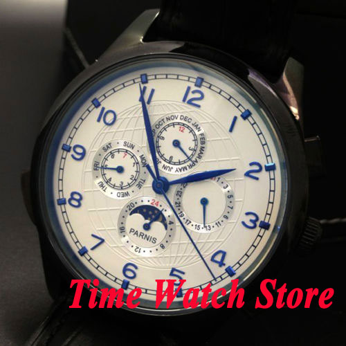Parnis 44mm White dial Blue marks Moon Phase Multifunction PVD case Automatic Self-Wind movement Men's watch 441 все цены