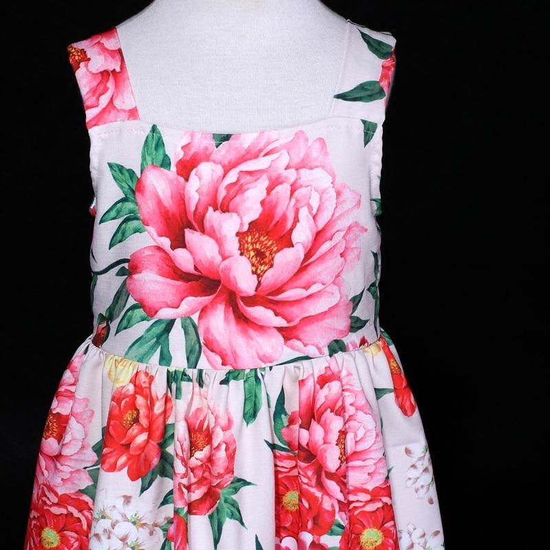 Été pivoine fleur filles en mousseline de soie sans manches longue complète slip robe famille look vêtements bébé mère fille vacances robes de plage - 3