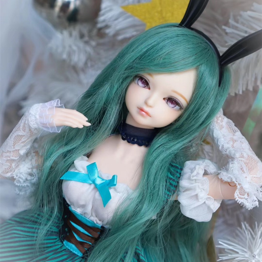 free shipping fortune days 1/4 bjd doll 45cm green blue dress with Rabbit ears bunny girl combination MMGIRL BJD DOLL