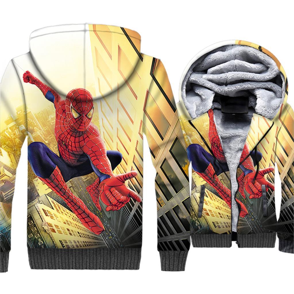 fashion Spiderman Super hero brand tracksuits man 39 s plus streetwear hooded hoodies 3D print thick sweatshirts men jackets 2019 in Hoodies amp Sweatshirts from Men 39 s Clothing