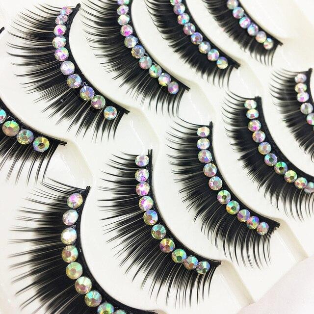YOKPN Colored False Eyelashes Exaggerated Latin Performance Thick Fake Eyelashes Shimmery Show Color Big Eye Makeup Lashes Glue 4