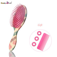 цены 2019 Professional Massage Hair Brush Shower Comb Wet Detangling Hair Brush Salon hair brush with Two Gifts (Big Size)