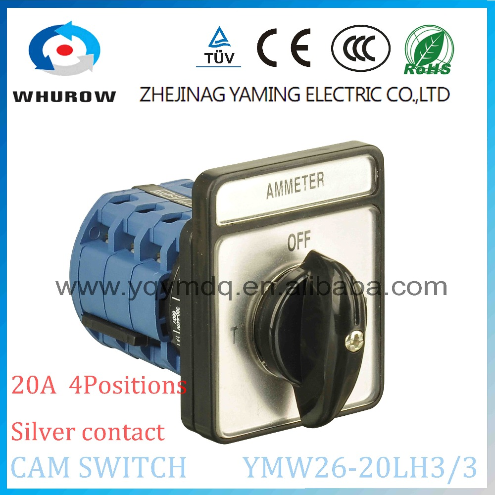 4 position selector switch Ammeter B9 20A 3 poles (OFF-R-S-T)  4 position rotary switch YMW26-20LH3/3 silver contact  universal 660v ui 10a ith 8 terminals rotary cam universal changeover combination switch