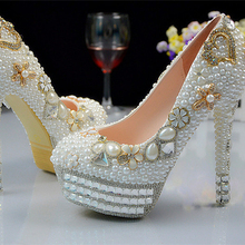 Beautiful Pearl Crystal Beaded lady formal shoes High Heels Beaded Bridal Evening Prom Party Wedding Dress Bridesmaid Shoes