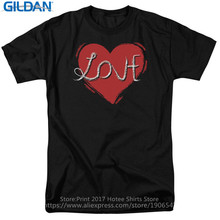 T Shirts Online  MenS Broadcloth Short Sleeve Love Heart On Black Shirt