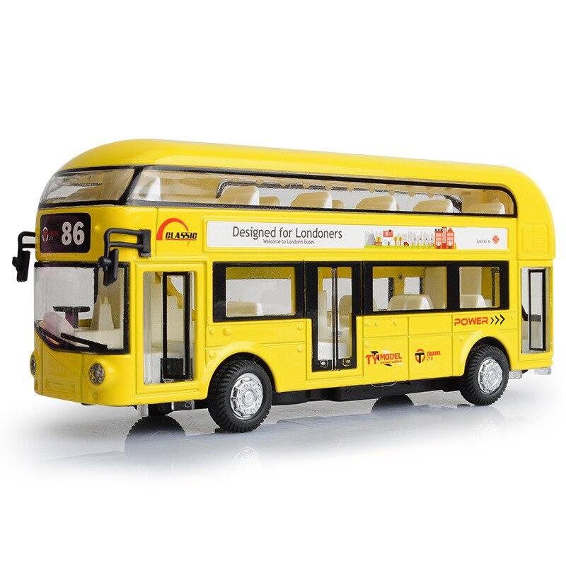 Double Decker Bus Jouet Partie En Métal et En Plastique Londres Bus Transport Les Portes Peut Ouvrir et Fermer Clignotant Avec La Musique lorsque Tête de la Presse